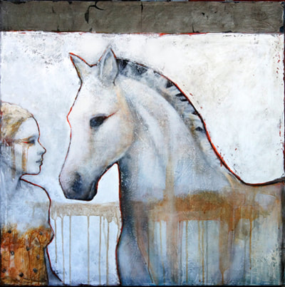 acrylic painting of a girl performer and her horse
