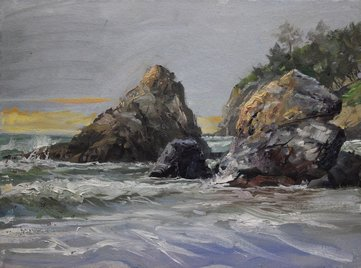 Landscape of coast line with jagged rocks