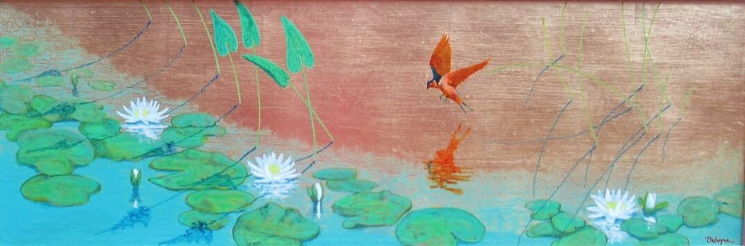 Painting of red bird by pond with reflection