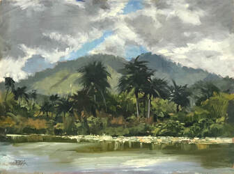 Landscape with mountains and palms