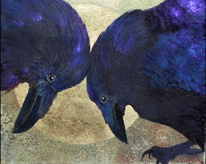 Painting of crows with heads together