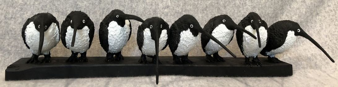 Abstract sculpture of penguins