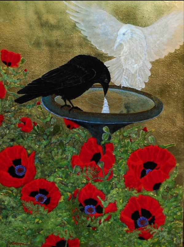 Painting of crow by bird bath with flowers