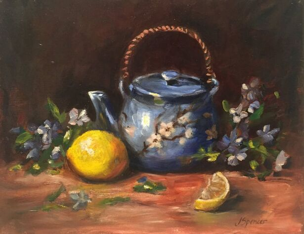 blue floral teapot painting with blossoms and lemons