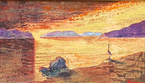 Painting of beach landscape with heron at sunset