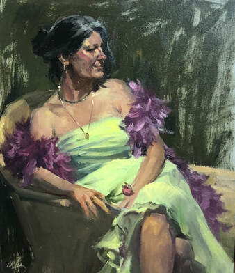 Woman in lime green dress and violet feather boa reclining on chaise lounge