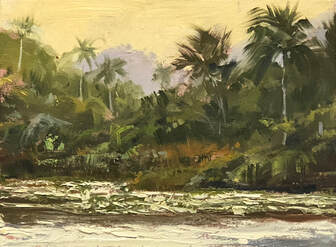 Jungle scene with ocean in foreground