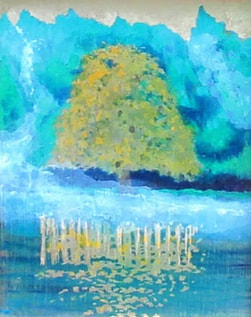 Impressionist style landscape with oak tree
