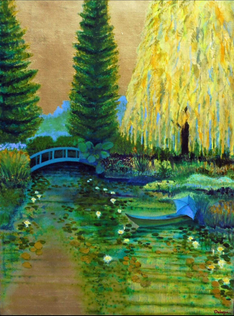 Impressionist style landscape painting of pond with pedestrian bridge