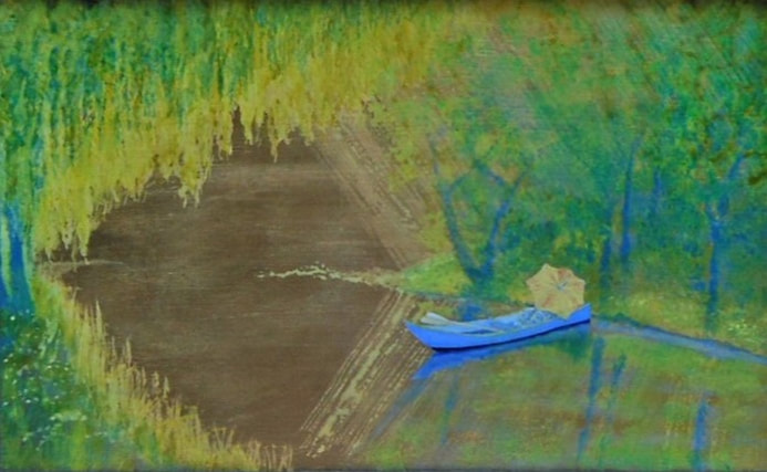 Impressionist style of a boat on the river with parasol shielding rowers