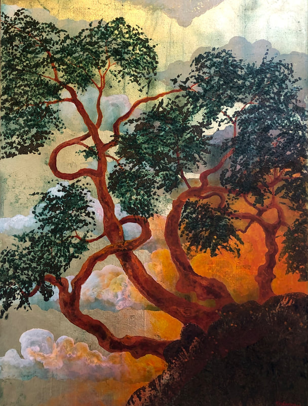 Painting of tree on hillside
