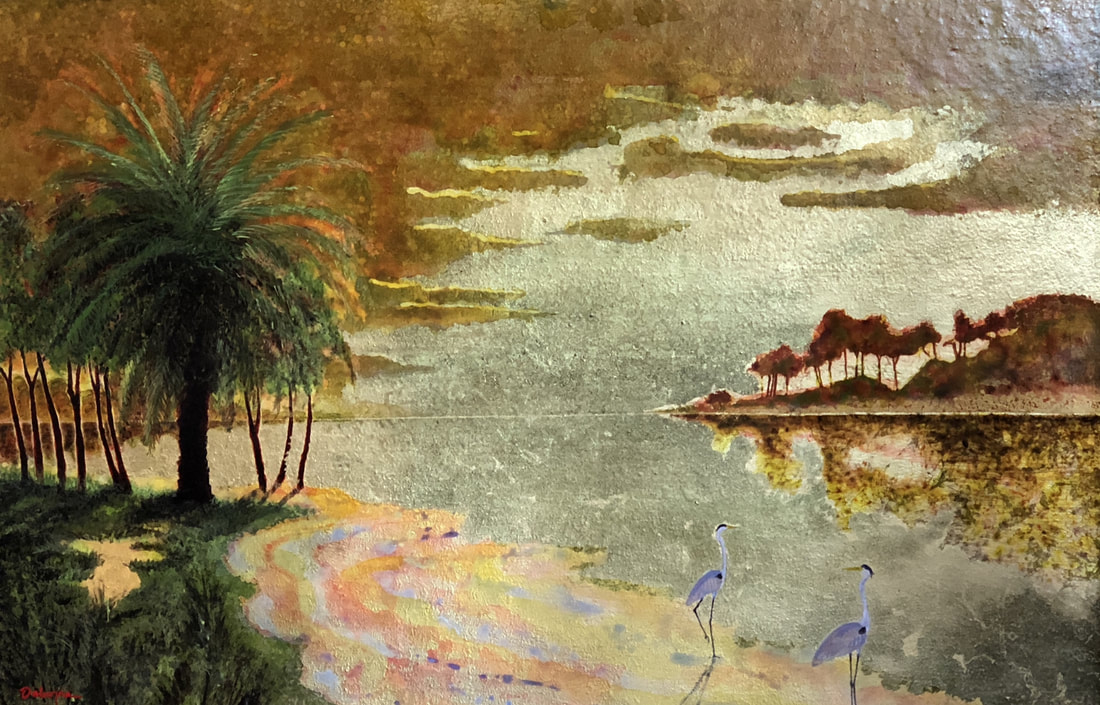 Landscape of beach scene with palm and herons