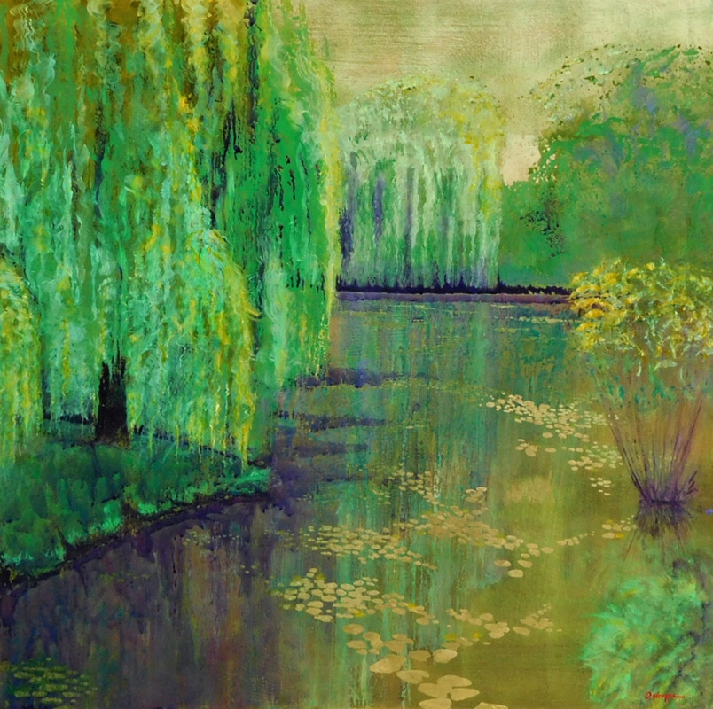 Impressionist style painting of pond with willow reflections