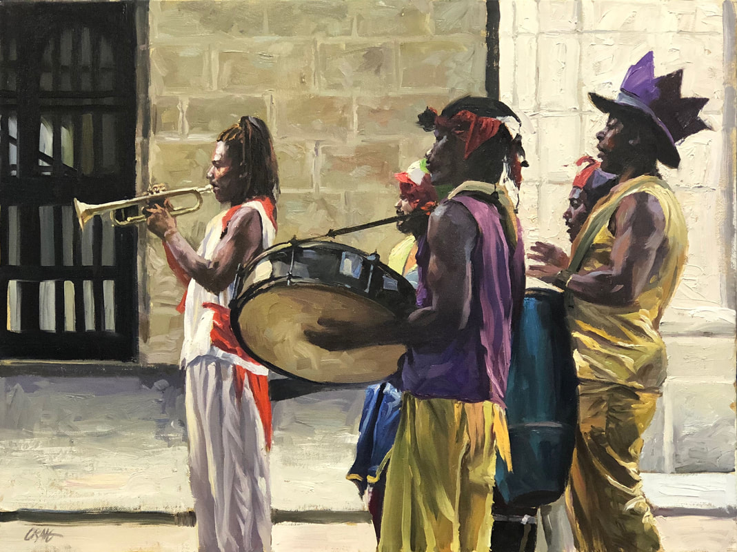 Procession of five musicians playing in the street