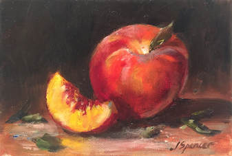 oil painting of a peach and peach slicePicture