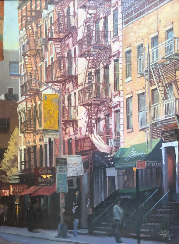 Street scene of Soho shops and fire escapes in early morning