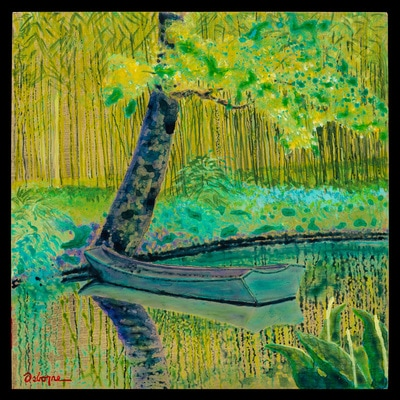 Impressionist style painting with boat under a tree