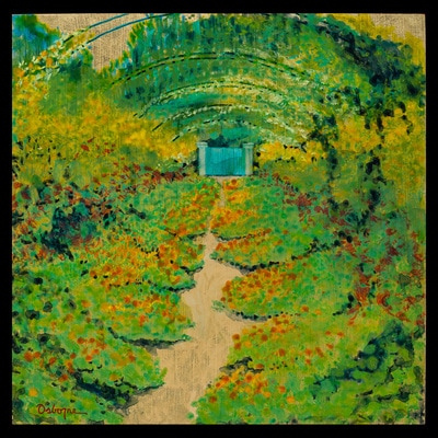 Painting of abstracted garden scene