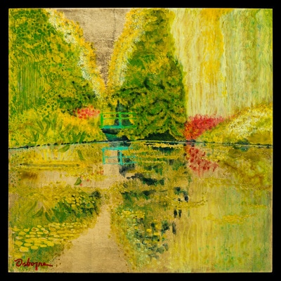 Painting of abstracted garden scene with pond