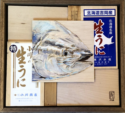 Painting of a tuna mounted on uni boxes